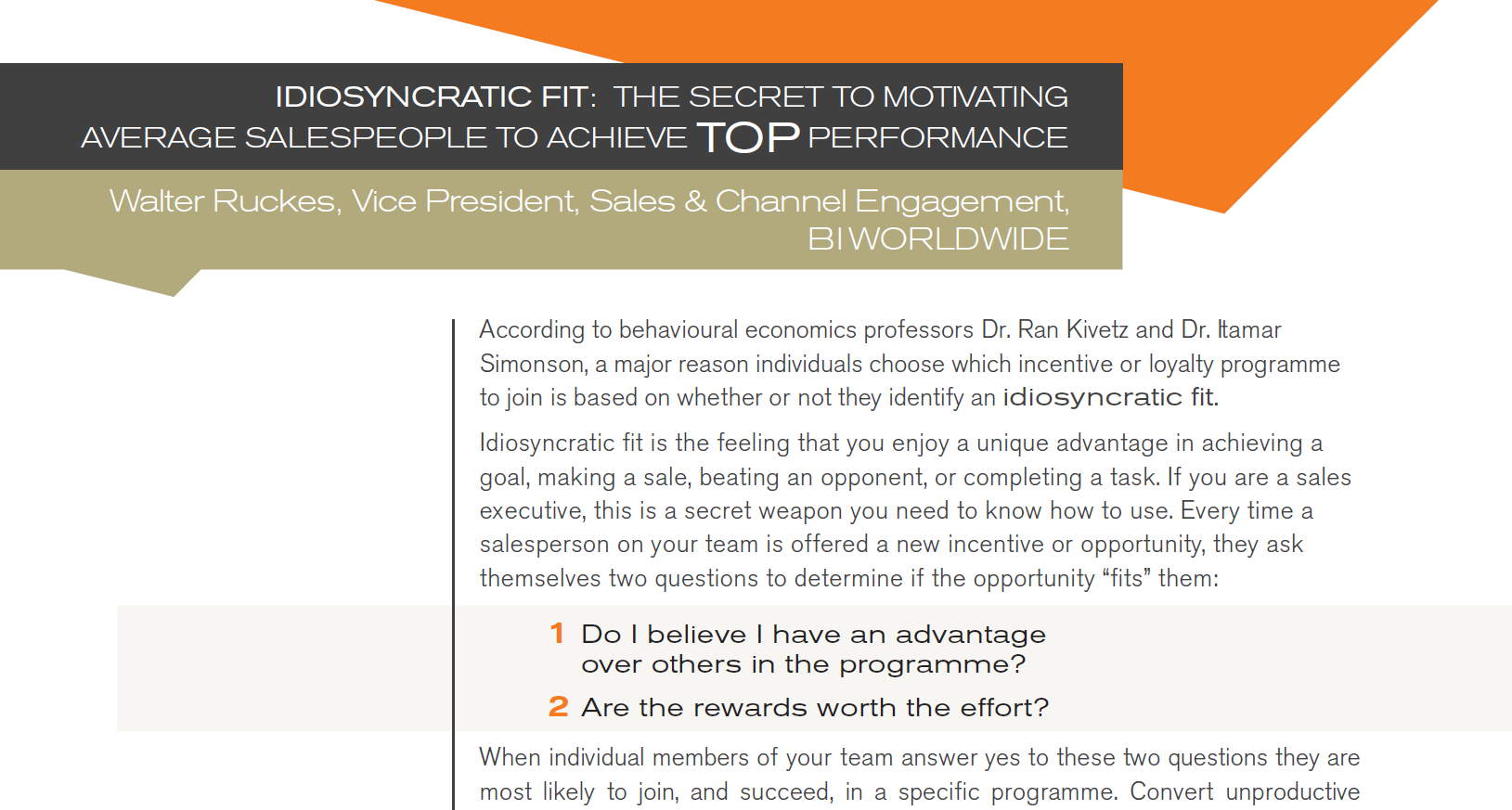 Idiosyncratic fit: Motivating Sales People