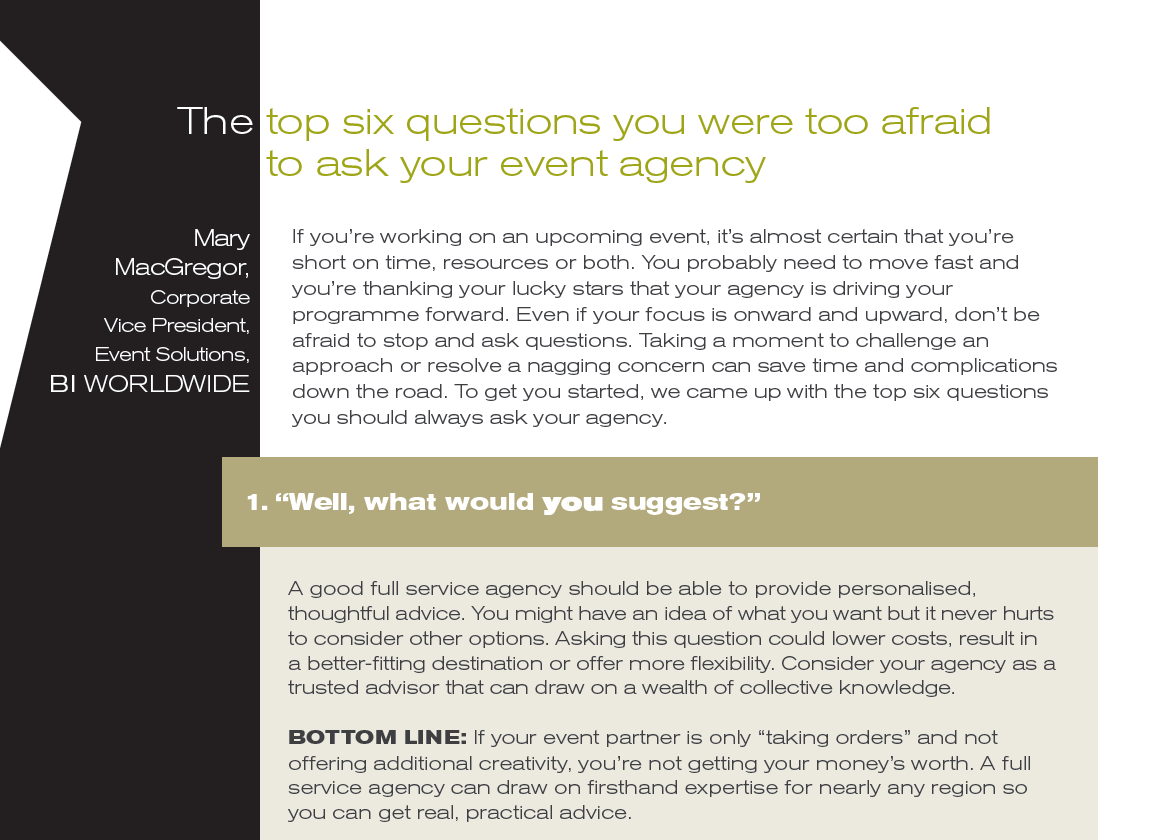 The top six questions to ask your events agency